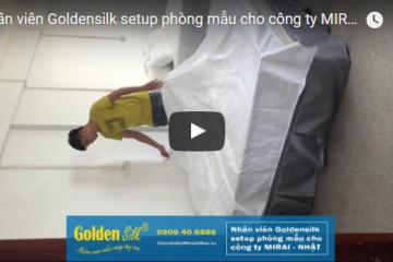 Nhân viên Goldensilk setup phòng mẫu cho công ty MIRAI NHẬT BẢN