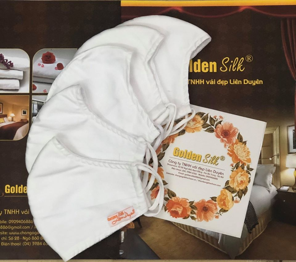 KHẨU TRANG VẢI 3 LỚP KHÁNG KHUẨN, CHỐNG BỤI- thương hiệu Golden Silk Liên Duyên
